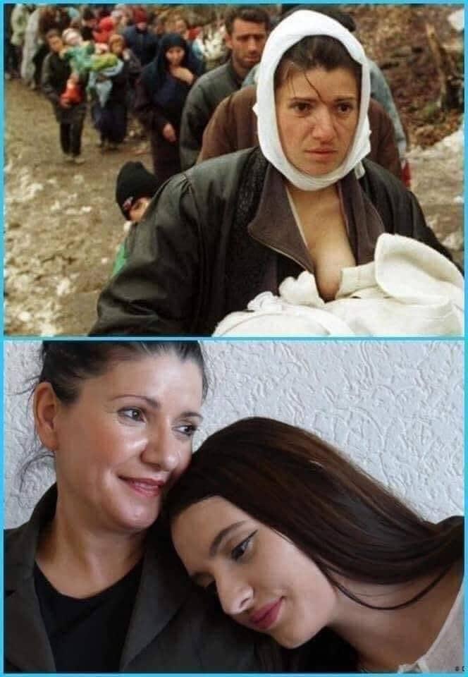 Kosova Savaşından. Mülteci kervanında hayatı besleyen ANNE.. 1999'un en iyi fotoğrafı  ( Reuters / damir sogali)  20 yıl sonra o anne ( Şherife Luta ) kızı ile..