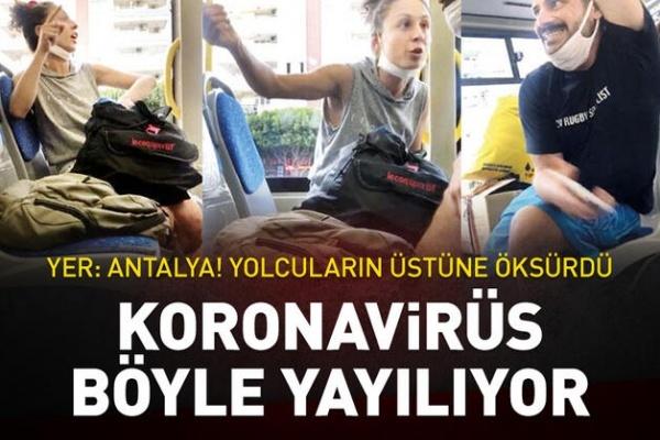 Pes Dedirten Görüntüler: Otobüsteki Yolcuların Üstüne Öksürdü