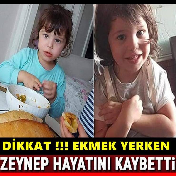 Anne Ve Babalar Dikkat! 2 Yaşındaki Zeynep Ekmek Yerken Hayatını Kaybetti.