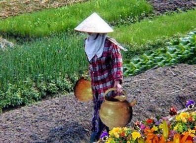 Çin'de bir adam, her gün boynuna dayadığı kalın sopanın iki ucuna astığı testilerle dereden su taşırmış evine.