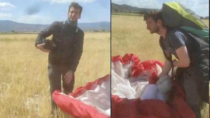 Kanadalı paraşütçü Türkiye'de ekili tarlaya indi, çiftçinin sözleri gülmekten kırdı geçirdi