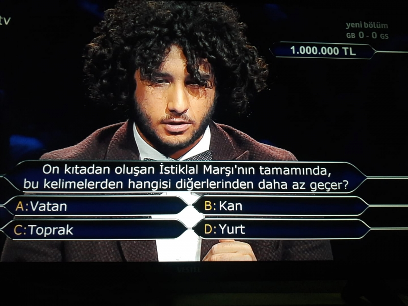 Kim Milyoner Olmak İster Yarışmasında 1 Milyonluk Soru ve Cevabı