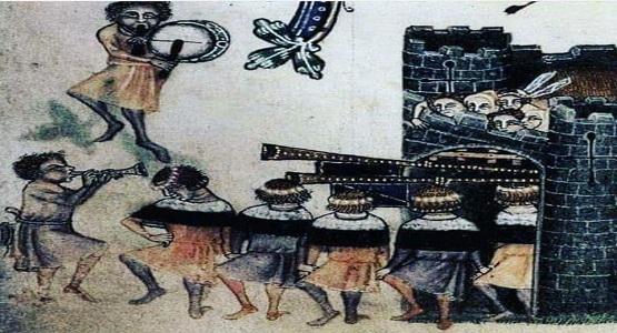 Konstantinopolis'ten halay çekerek çıkan Doğu Roma İmparatorluğu sakinleri.