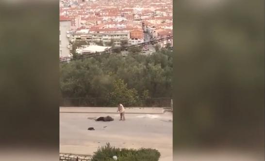 Pes dedirten görüntüler: Eşini sokak ortasında vurdu, silahı tutukluk yapınca