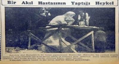 """Bakırköy Ruh ve Sinir Hastalıkları Hastanesi bahçesindeki """"Düşünen Adam"""" heykeli"""