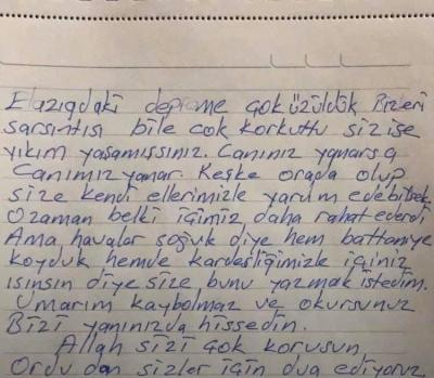 Elazığ'a Gidecek Olan Yardım Poşetinden Çıkan Not Tüyleri Diken Diken Etti
