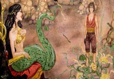 Şahmeran, başı insan, gövdesi yılan biçiminde efsanevi bir yaratıktır.