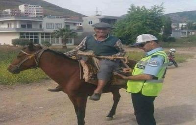 Yaşanmış bir hikaye : Çorum'da yolda trafik kontrolü yapan iki kafadar trafik polisi karşıdan bir eşek üstünde ihtiyar bir köylünün geldiğini görürler